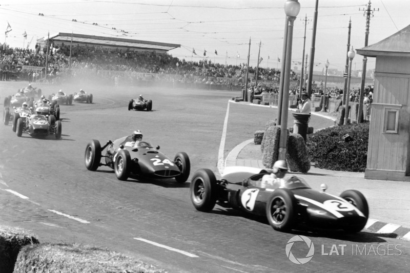 Jack Brabham, Cooper T53-Climax, Dan Gurney, BRM P48, John Surtees, Lotus 18-Climax ve Stirling Moss
