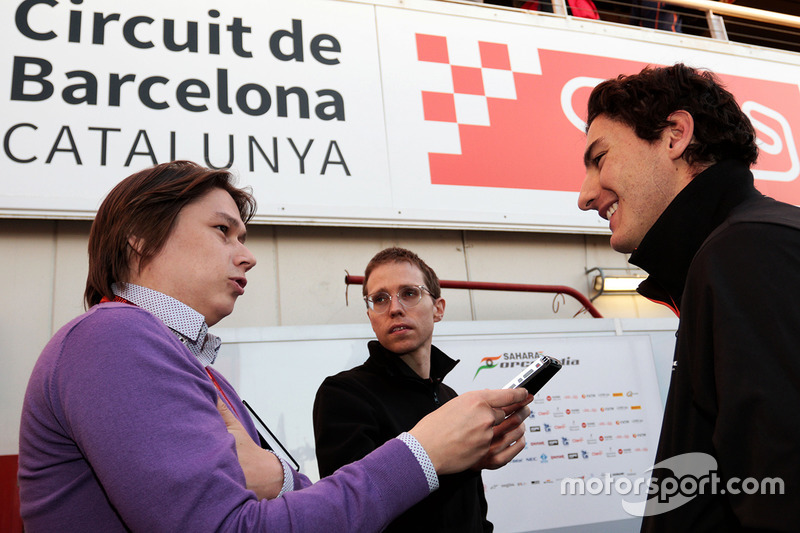 Alfonso Celis Jr., Sahara Force India F1 Development Driver with the media
