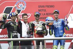 Second place Johann Zarco, Monster Yamaha Tech 3, Race winner Cal Crutchlow, Team LCR Honda, Third place Alex Rins, Team Suzuki MotoGP