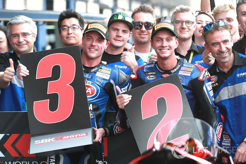 Le troisième : Alex Lowes, Pata Yamaha, Michael van der Mark, Pata Yamaha