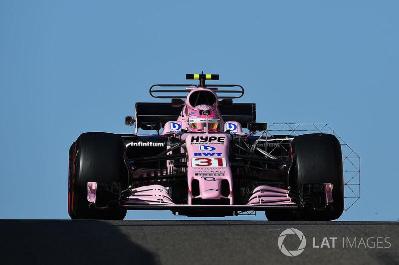 Esteban Ocon, Sahara Force India VJM10 with aero sensor