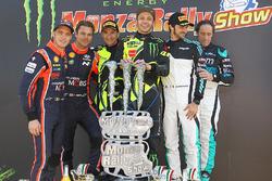 I vincitori Valentino Rossi, Carlo Cassina, Ford Fiesta WRC, al secondo posto Andreas Mikkelsen, Thierry Neuville, Hyundai NG i20 WRC, al terzo posto Marco Bonanomi, Gigi Pirollo, Citroën DS3 WRC
