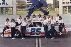 Bill Venturini, Venturini Motorsports with his all-female pit crew in 1987