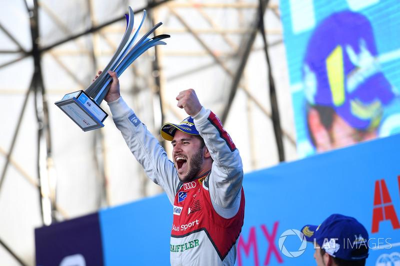 Daniel Abt, Audi Sport ABT Schaeffler, celebrates after winning the race