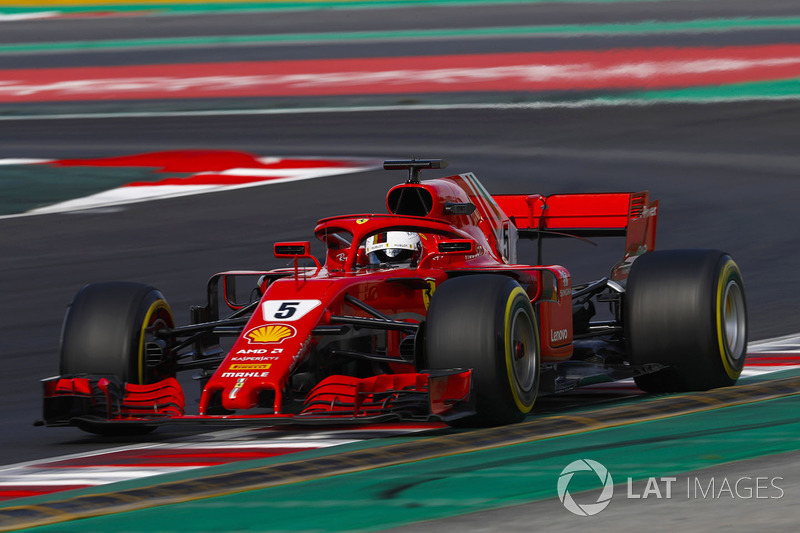 sebastian vettel ferrari sf71h essais de mars barcelone photos formule 1. Black Bedroom Furniture Sets. Home Design Ideas