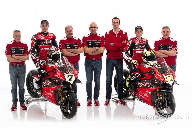 Chaz Davies, Aruba.it Racing-Ducati SBK Team, Alvaro Bautista, Aruba.it Racing-Ducati SBK Team met teamleden