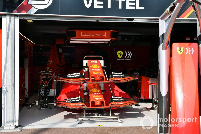 Front wing spares in the Ferrari garage