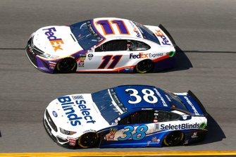 David Ragan, Front Row Motorsports, Ford Mustang Select Blinds, Denny Hamlin, Joe Gibbs Racing, Toyota Camry FedEx Express
