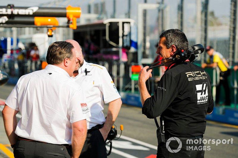 Zak Brown, McLaren Executive Director, Guenther Steiner, Team Principal, Haas F1