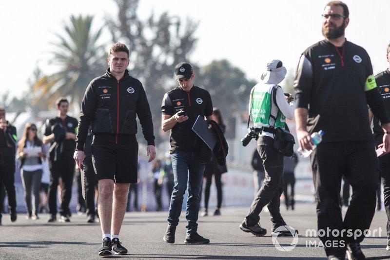 Oliver Rowland, Nissan e.Dams and Sébastien Buemi, Nissan e.Dams on a track walk with their team