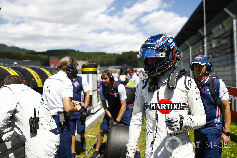 Lance Stroll, Williams FW41, arrive sur la grille