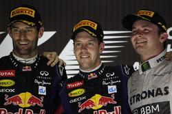Podium: second place Mark Webber, Red Bull Racing, Race winner Sebastian Vettel, Red Bull Racing, th