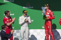 Podium: winner Sebastian Vettel, Ferrari, second place Valtteri Bottas, Mercedes AMG F1, Giuseppe Vietina, Ferrari