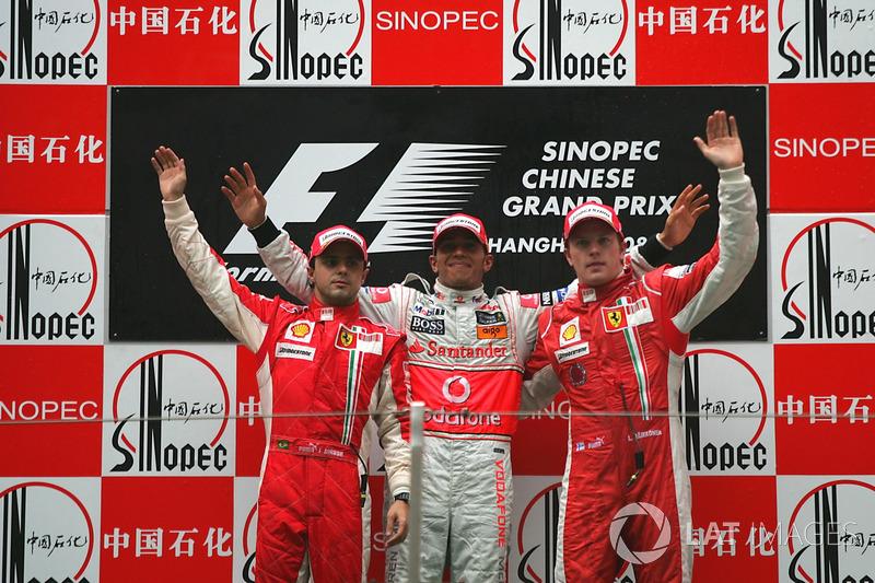 2008: 1. Lewis Hamilton, 2. Felipe Massa, 3. Кimi Raikkonen