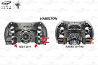 Mercedes F1 W08, il volante di Lewis Hamilton
