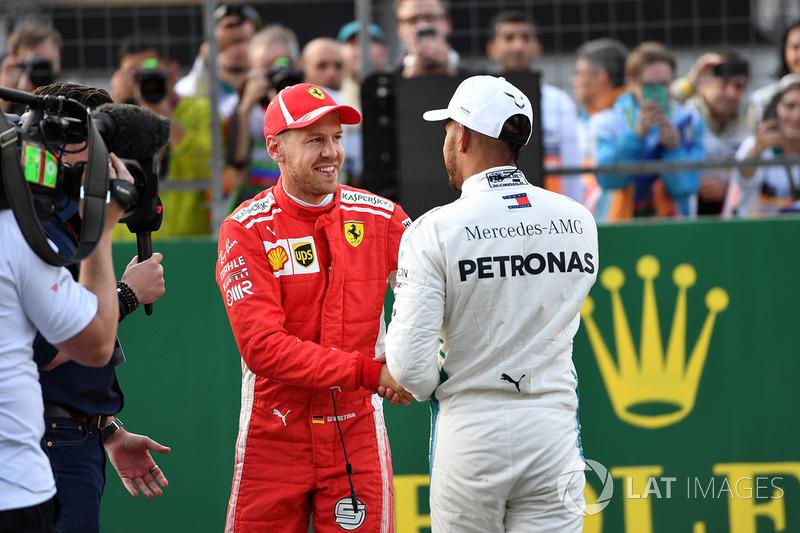 Sebastian Vettel, Ferrari y Lewis Hamilton, Mercedes-AMG F1