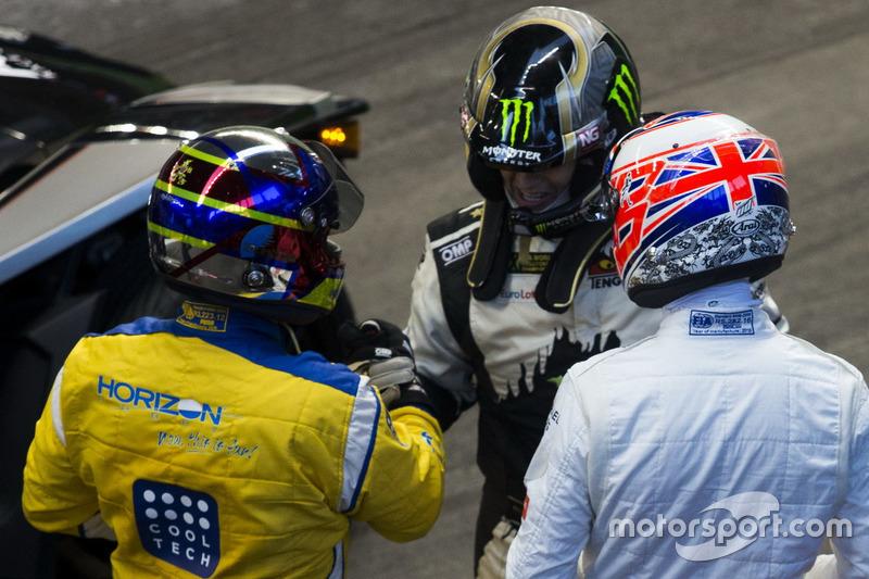Juan Pablo Montoya, con Petter Solberg y Jenson Button,