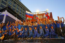 #513 Kamaz Master: Dmitry Sotnikov, Ruslan Akhmadeev, Igor Leonov, #505 Team Kamaz Master: Eduard Nikolaev, Evgeny Yakovlev, Vladimir Rybakov