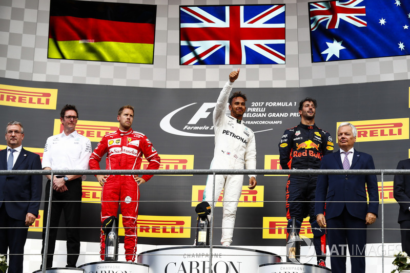 Podium: Second place Sebastian Vettel, Ferrari, Race winner Third place Lewis Hamilton, Mercedes AMG F1 Daniel Ricciardo, Red Bull Racing