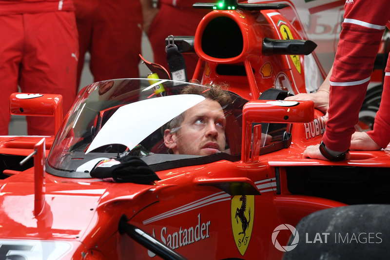 Sebastian Vettel, Ferrari SF70-H with cockpit shield