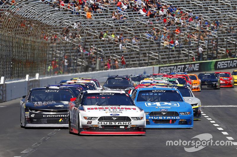 Ryan Blaney, Team Penske, Ford; Joey Logano, Team Penske, Ford; Tyler Reddick, Chip Ganassi Racin,g Chevrolet