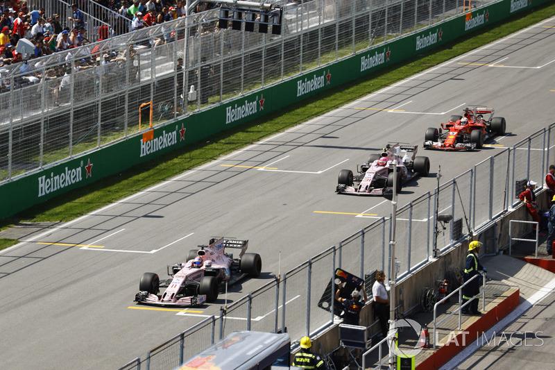 Sergio Perez, Force India Esteban Ocon, Force India, Sebastian Vettel, Ferrari