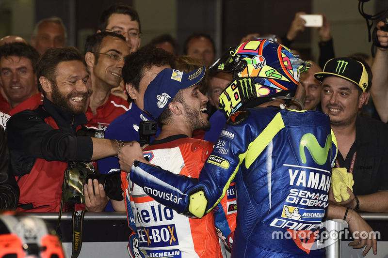 Second place Andrea Dovizioso, Ducati Team, third place Valentino Rossi, Yamaha Factory Racing