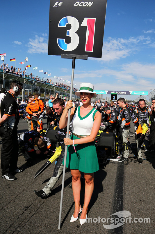 Grid girl for Esteban Ocon, Sahara Force India F1 Team