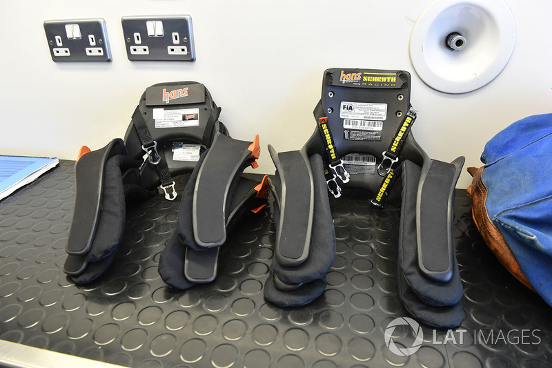 Hans devices in the F1 Experiences  garaje