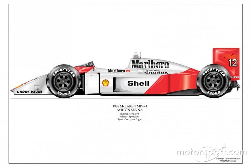 Artwork McLaren MP4/4 1988 d'Ayrton Senna