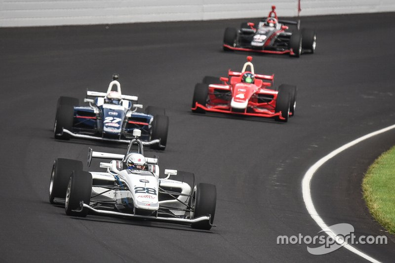 Oliver Askew, Andretti Autosport, heads to Freedom 100 victory at Indianapolis Motor Speedway.