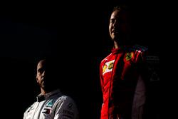 Lewis Hamilton, Mercedes-AMG F1 and Sebastian Vettel, Ferrari on the podium