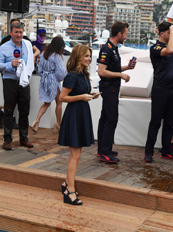 Geri Halliwell, at the Red Bull Racing Energy Station swimming pool