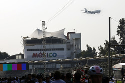 A low-flying Air Frane aircraft passes close to the circuit