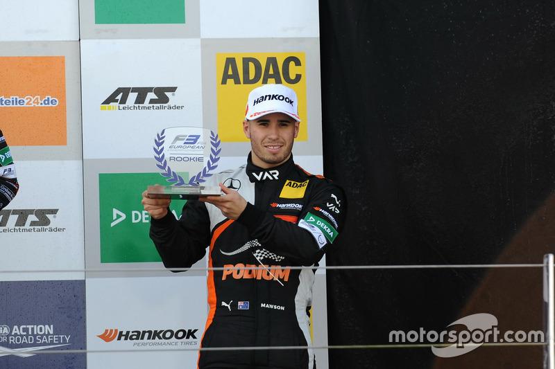 Rookie Podium: Joey Mawson, Van Amersfoort Racing, Dallara F317 – Mercedes-Benz