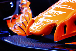 Nose detail and the Honda logo on the McLaren MCL32