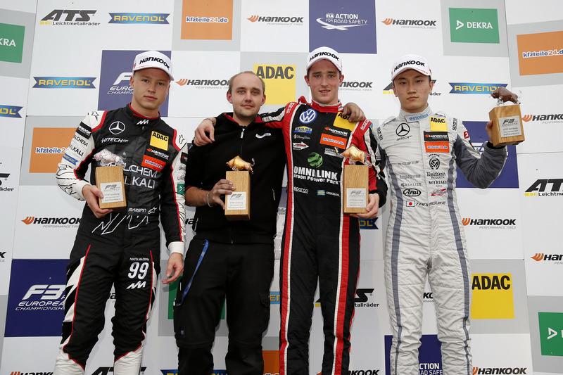 Podium: Race winner Joel Eriksson, Motopark Dallara F317 - Volkswagen, second place Nikita Mazepin, Hitech Grand Prix, Dallara F317 - Mercedes-Benz, third place Tadasuke Makino, Hitech Grand Prix, Dallara F317 - Mercedes-Benz