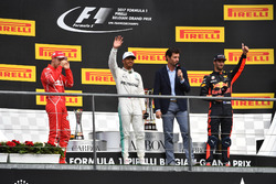 Sebastian Vettel, Ferrari, Lewis Hamilton, Mercedes AMG F1, Mark Webber, Daniel Ricciardo, Red Bull Racing celebrate on the podium