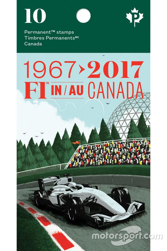 Обложка буклета с марками почты Канады на тему Ф1