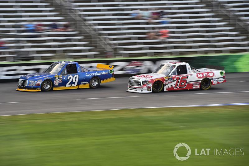 Chase Briscoe, Brad Keselowski Racing Ford, Ryan Truex, Hattori Racing Enterprises Toyota