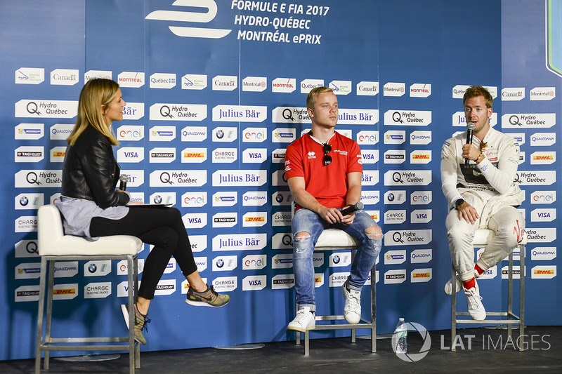 Nicki Shields, Moderatorin, Felix Rosenqvist, Mahindra Racing, Sam Bird, DS Virgin Racing