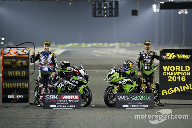 Jonathan Rea, Kawasaki Racing and Kenan Sofuoglu, Puccetti Racing, Worldchampions in WSBK and WSSP