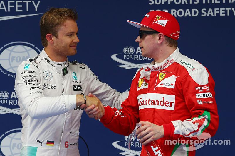 Polesitter Nico Rosberg, Mercedes AMG F1 Team, 3. Kimi Räikkönen, Ferrari