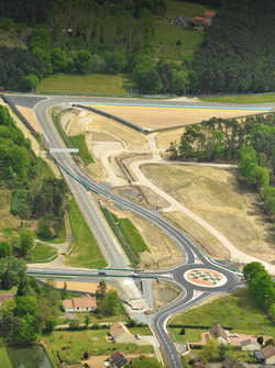 An aerial view of Indianapolis and Virage d'Arnage with a new roundabout