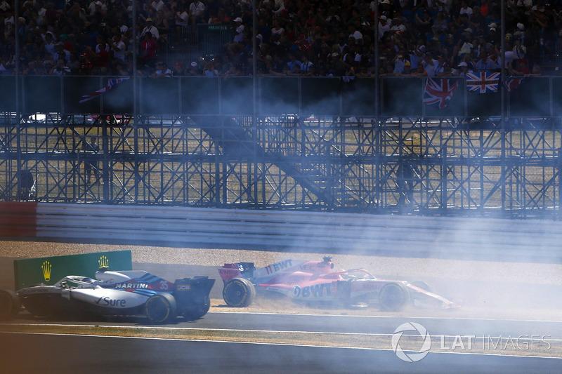 Sergio Perez, Force India VJM11, accidente Sergey Sirotkin, Williams FW41,