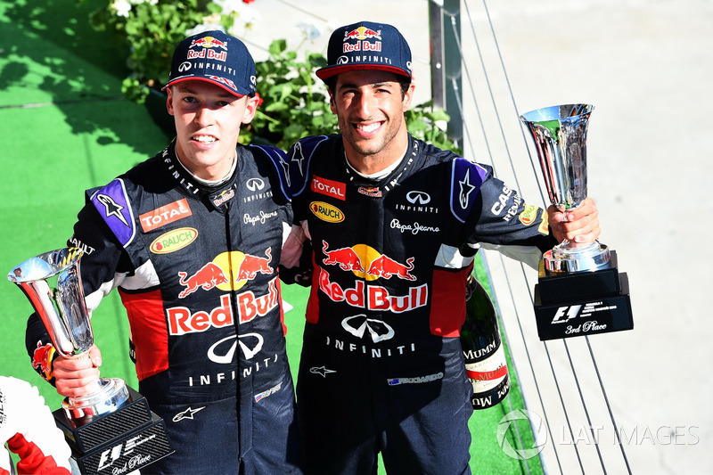 Daniil Kvyat, Red Bull Racing and Daniel Ricciardo, Red Bull Racing celebrate on the podium