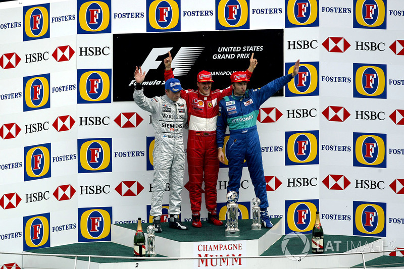 2003: 1. Михаэль Шумахер, 2. Кими Райкконен, 3. Хайнц-Харальд Френцен