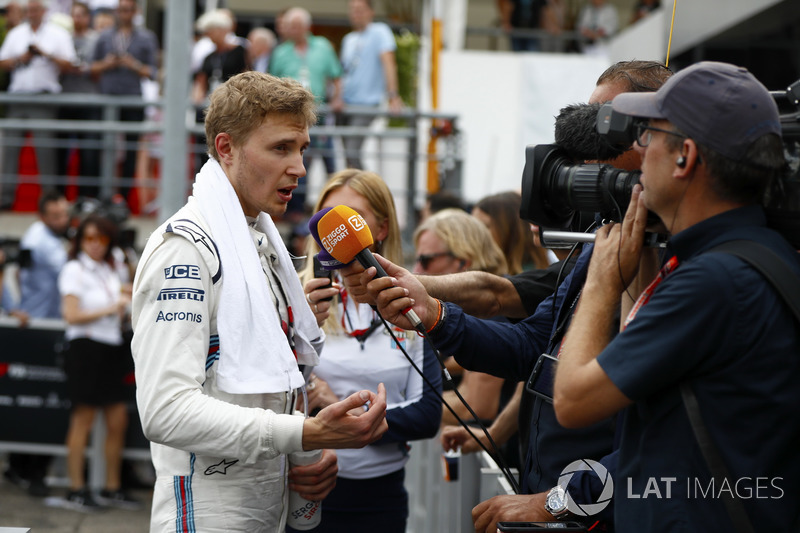 Sergey Sirotkin, Williams Racing, talks to the media