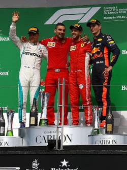 Valtteri Bottas, Mercedes-AMG F1, Sebastian Vettel, Ferrari and Max Verstappen, Red Bull Racing celebrate on the podium