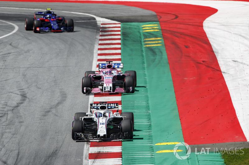 Lance Stroll, Williams FW41, Sergio Perez, Force India VJM11, Pierre Gasly, Toro Rosso STR13